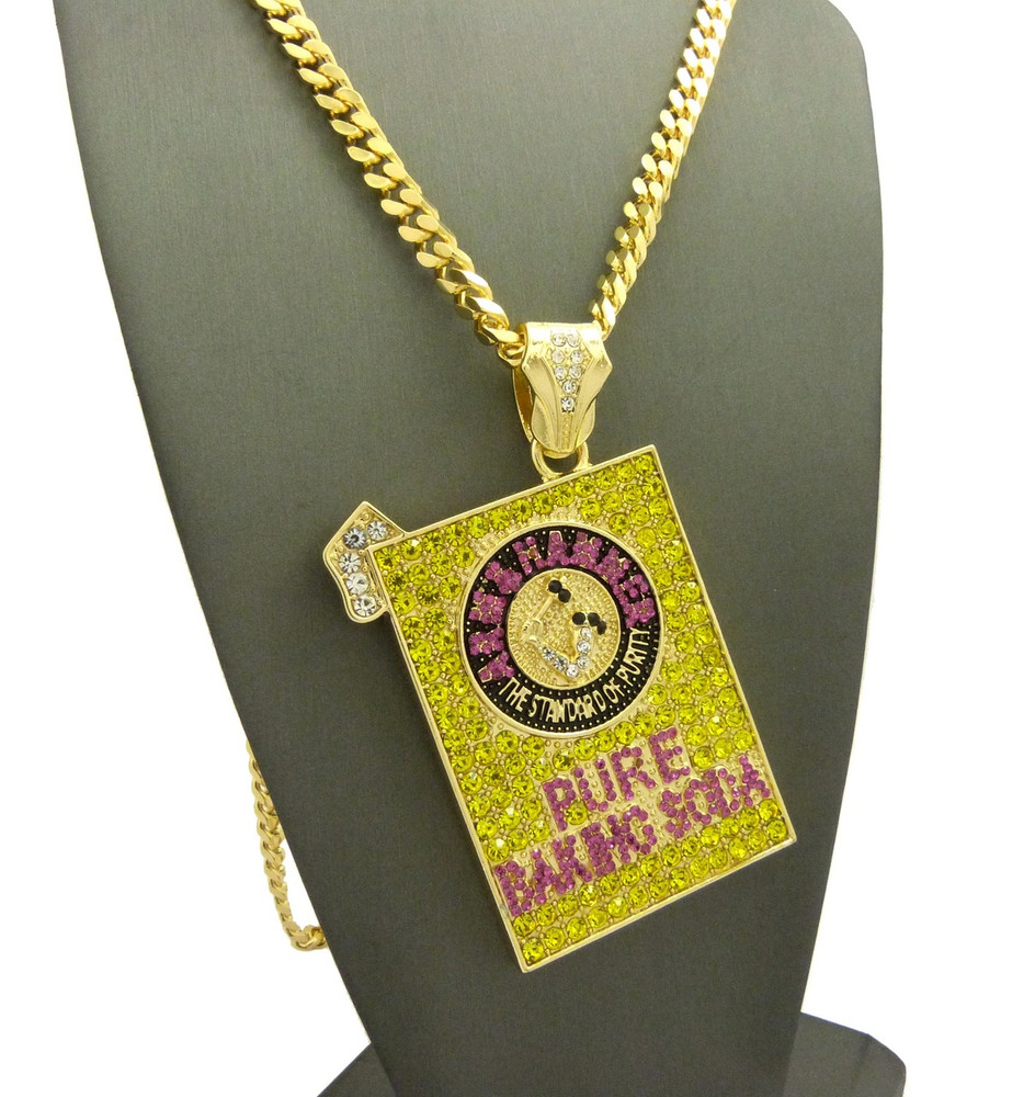14k Gold Pure Baking Soda Hip Hop Canary Cuban Link Pendant