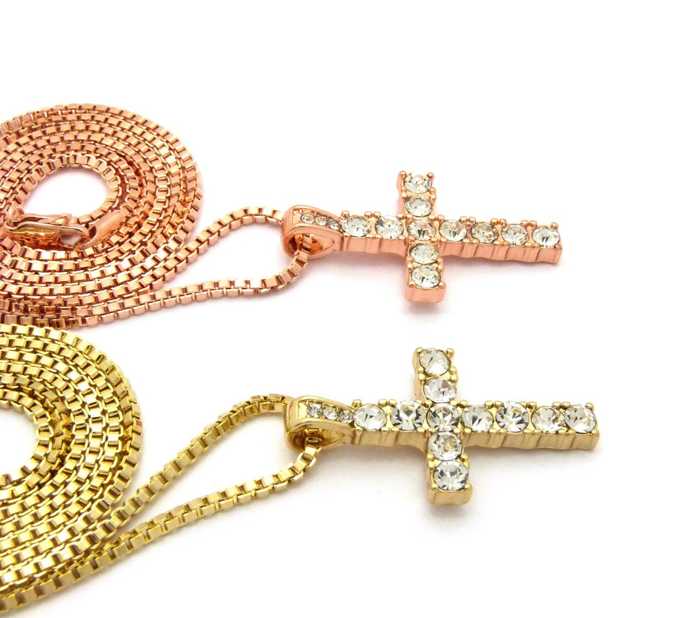 Double Cross Rose Gold 14k Gold Iced Out Pendants