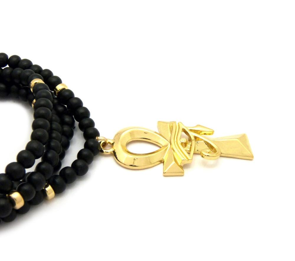 Wooden Chain 14k Gold Ankh Cross Eye of Ra Egypt Pendant