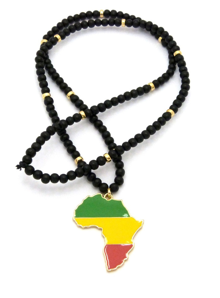 14k Gold Wooden Chain Mother Africa Continent Pendant