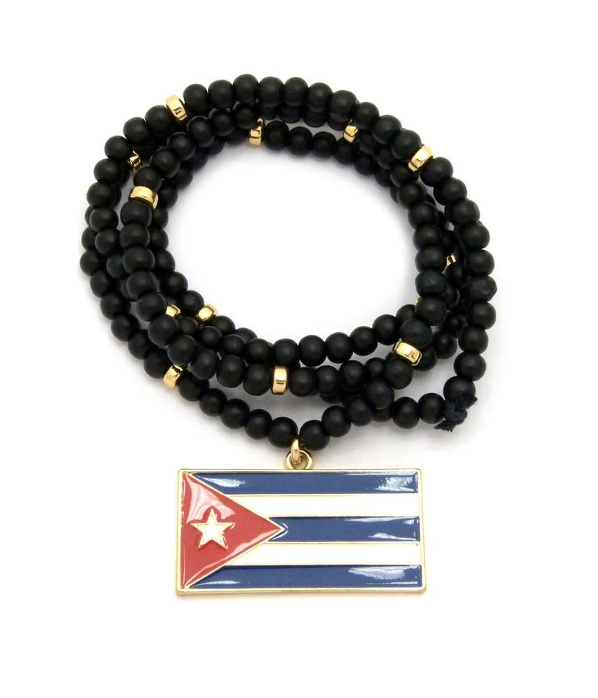 Cuba Flag Wooden Chain Pendant