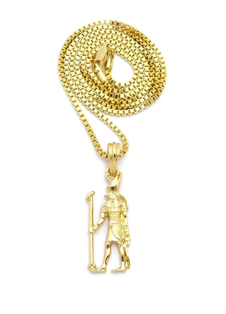 14k Gold African Ancient Egypt Horus Staff Pendant