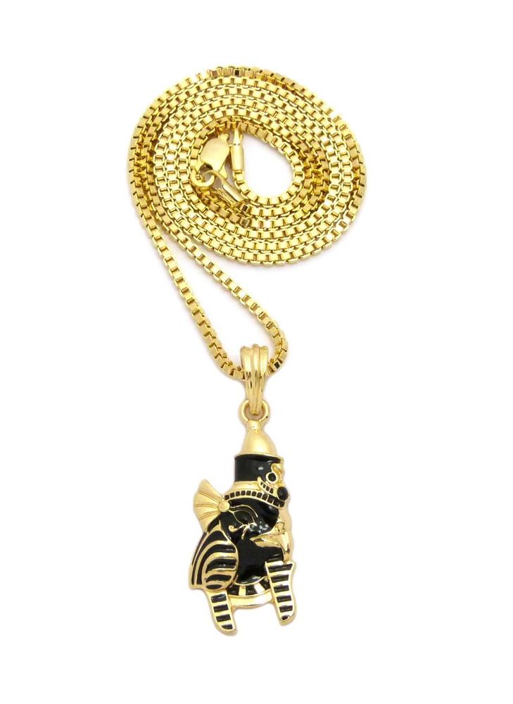 14k Gold Black Enameled Horus Bird Head African Egypt Pendant