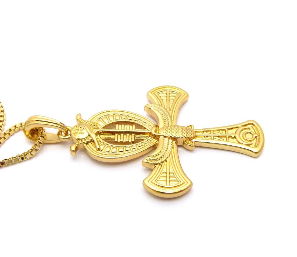 Falcon of Tutankhamun Ankh Cross Pendant 14k Gold