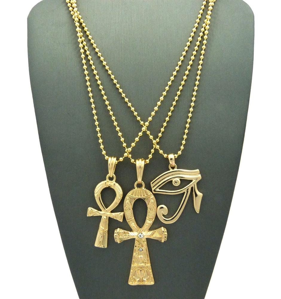 Eye Of Heru Double Ankh Hieroglyphics Cross Pendant