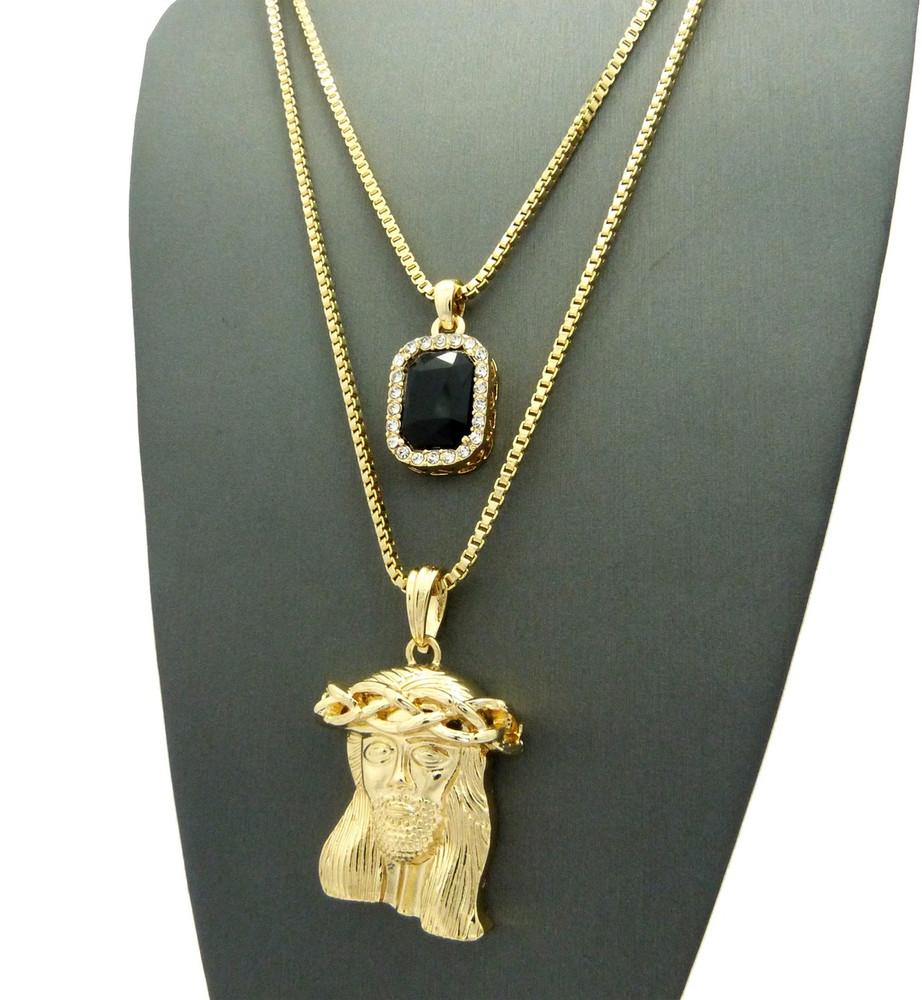 14k Gold Kings Crown Micro Jesus Piece Onyx Gem Pendant