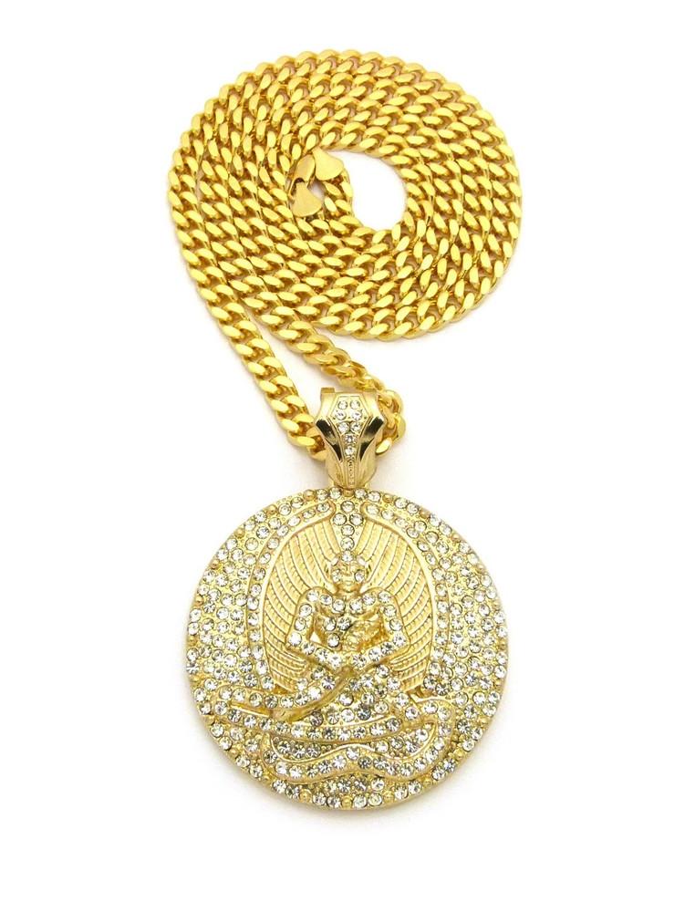 14k Gold GP Angel of Death Euphanasia Cuban Link Pendant