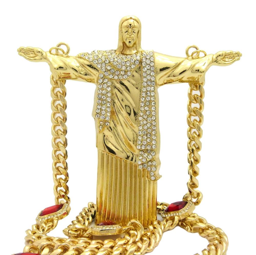 Christ The Reedemer Cuban Link Ruby Chain