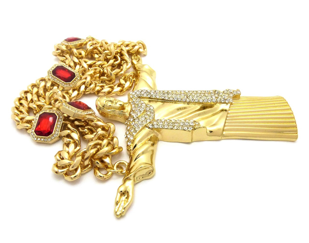 Christ The Reedemer Cuban Link Ruby Chain Pendant