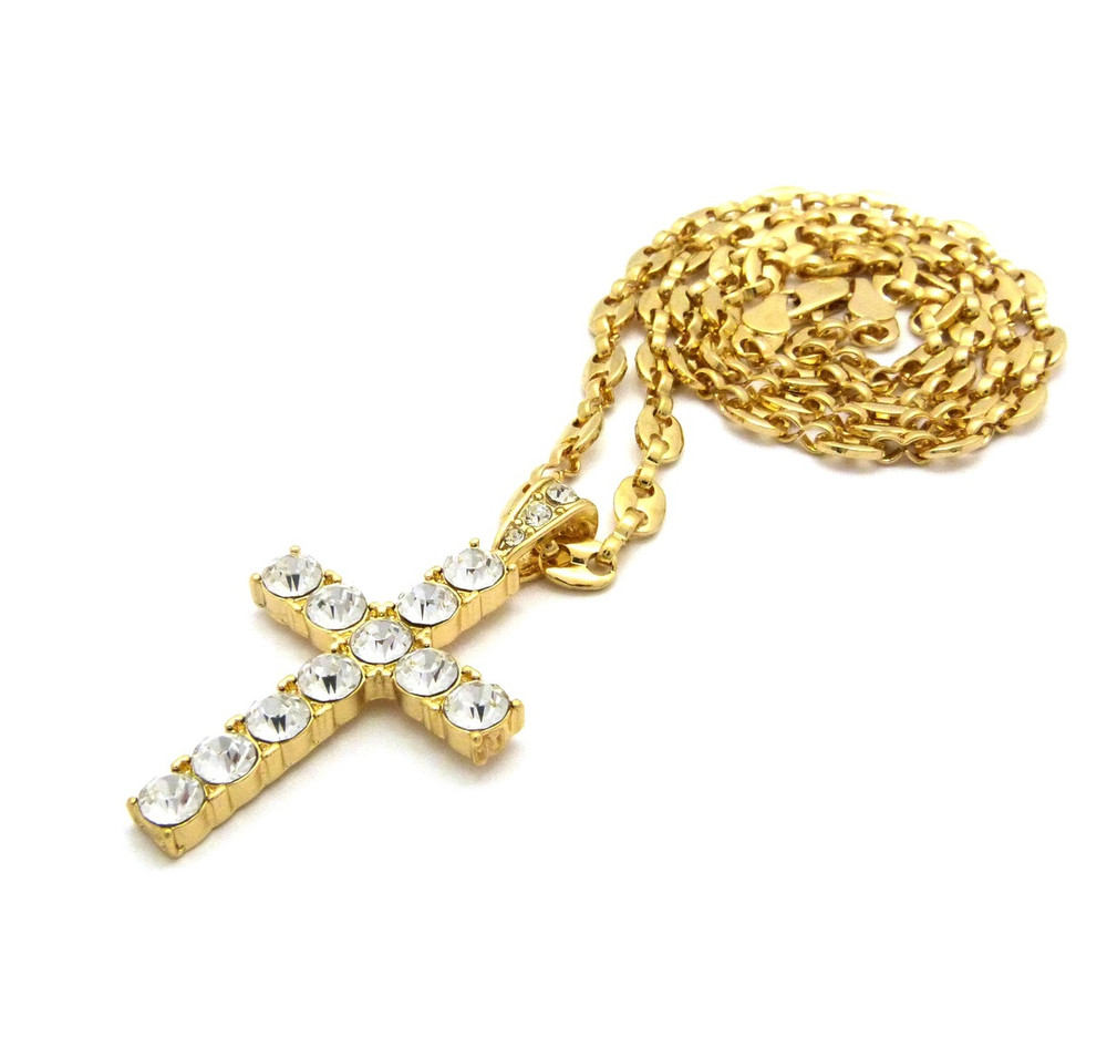 14k Gold Full Stone Iced Out Cross Marina Chain Pendant