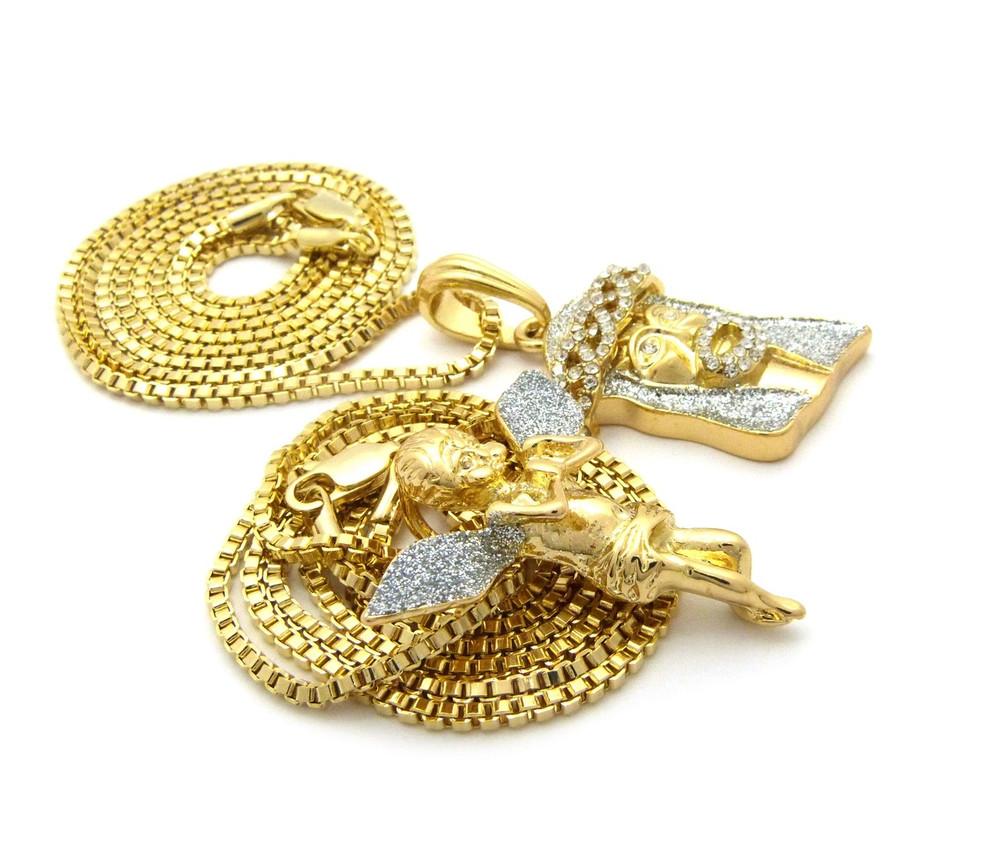 14k Gold Crushed Iced Simulated Diamond Jesus Cherub Pendant