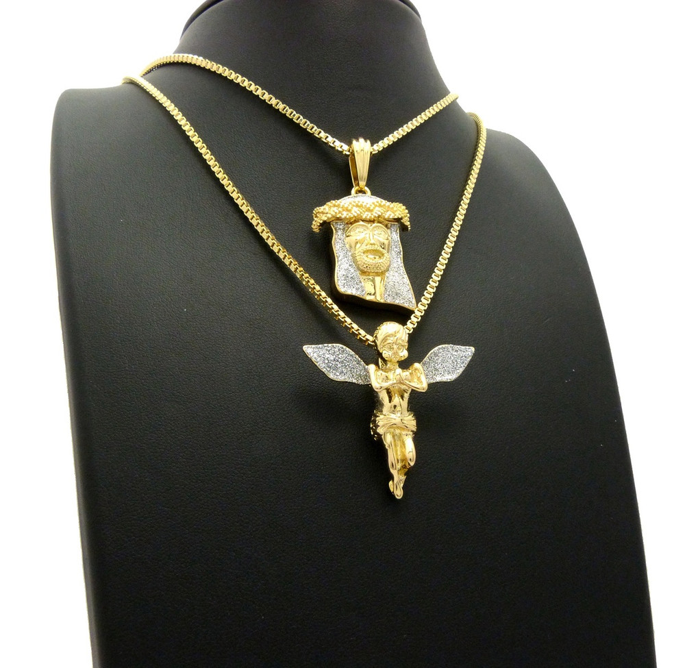 14k Gold Kings Crown Crushed Ice Hip Hop Jesus Chain Pendant