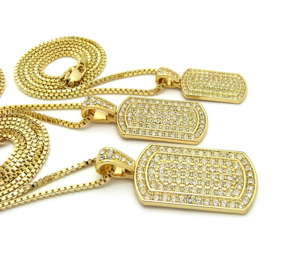 Triple Threat 14k Gold Iced Out Dogtag Pendant Chain Set