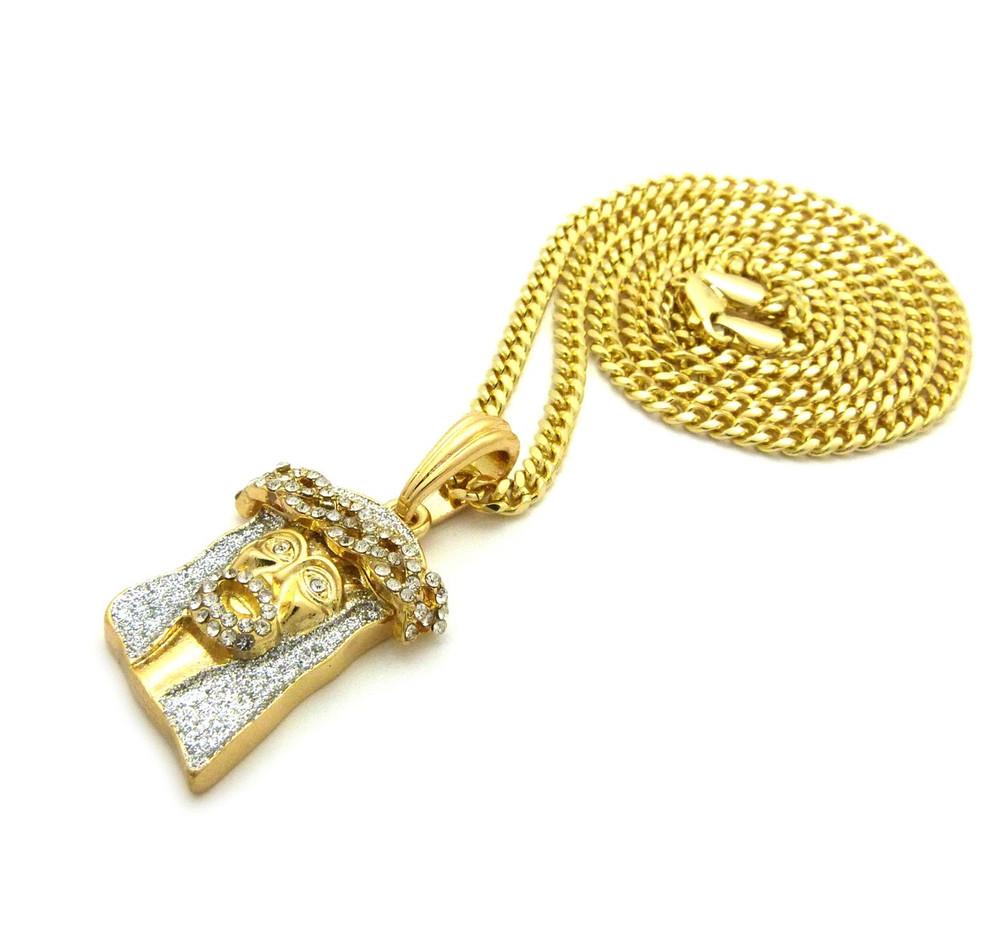 14k Gold Crushed Iced Simulated Diamond Jesus Pendant