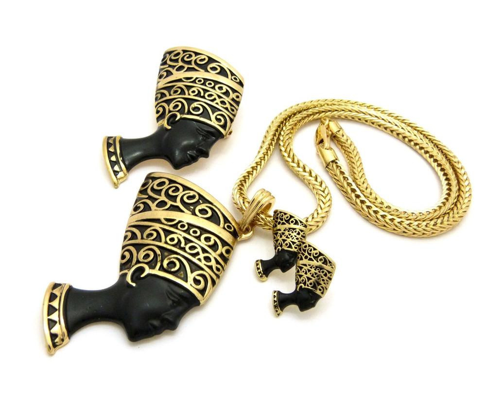 Queen Nefertiti Pendant Earrings Brooch Set Black