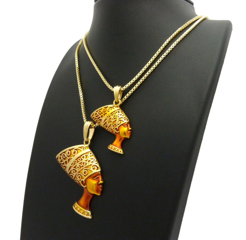 African Queen Nefertiti Pendant Chain Set Golden