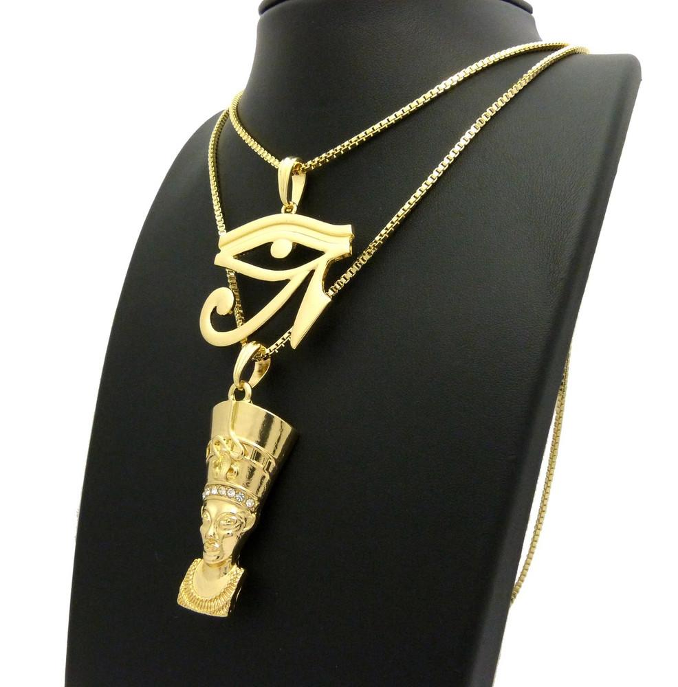 14k Gold African Queen Nefertiti Eye of Heru Pendant Set