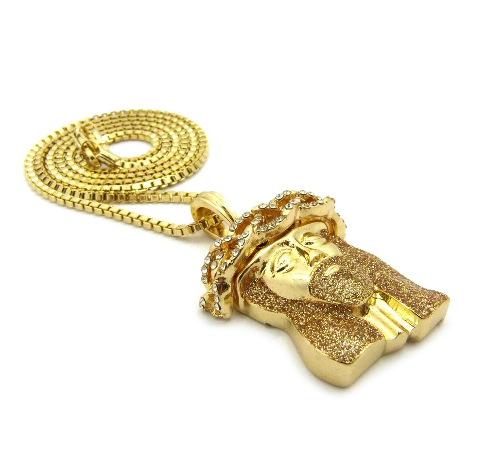 Crushed Iced 14k Gold Simulated Diamond Jesus Pendant Rootbeer