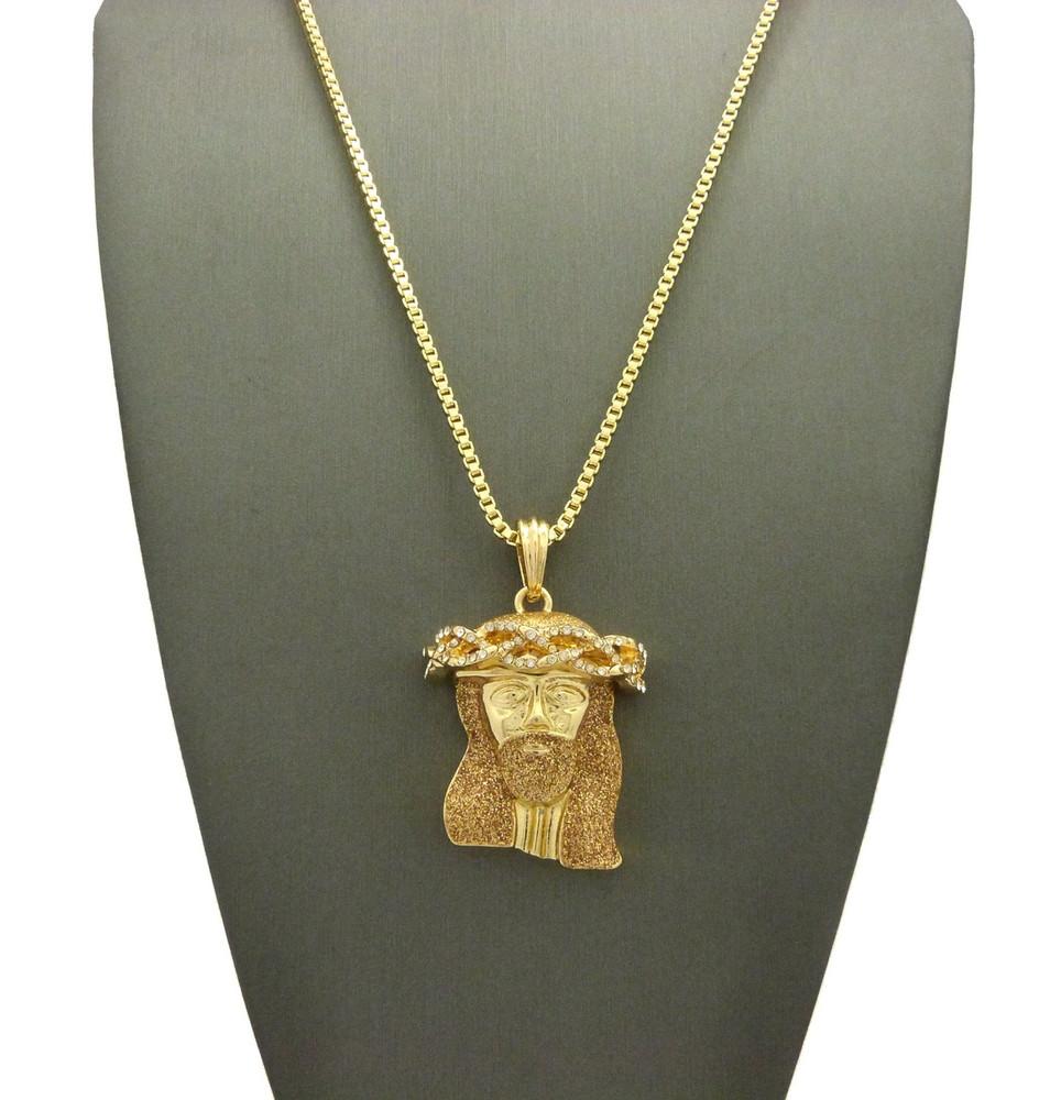 Crushed Iced 14k Gold Simulated Diamond Jesus Pendant