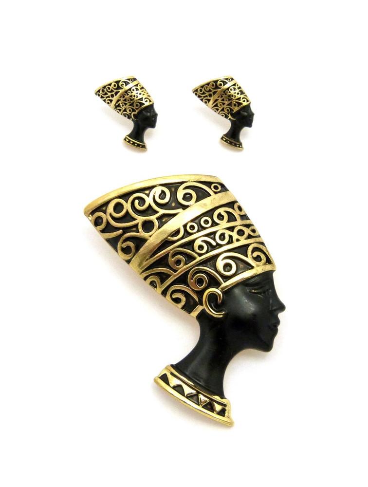 Black Queen Nefertiti 14k Gold African Brooch Pin Earrings Set