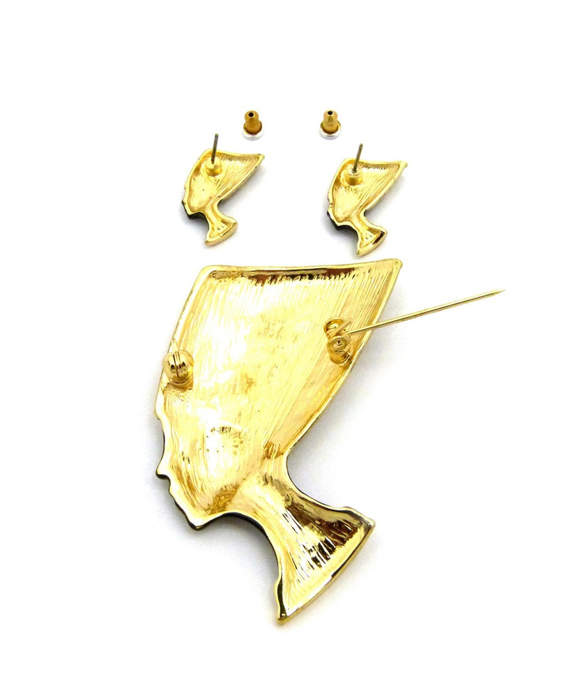 Black Queen Nefertiti 14k Gold African Brooch Pin Earrings Set