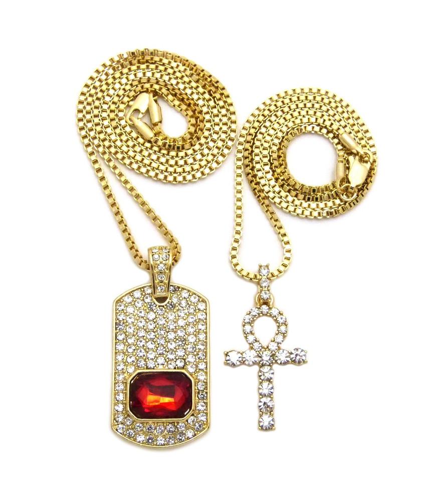 14k Gold Ankh Cross Simulated Diamond Gemstone Dogtag Set
