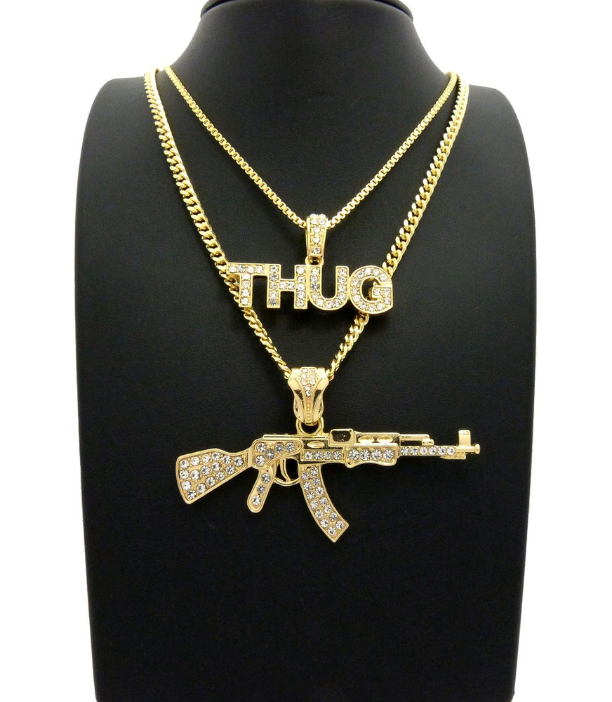 14k Simulated Diamond Thug Ak 47 Chopper Pendant Chain