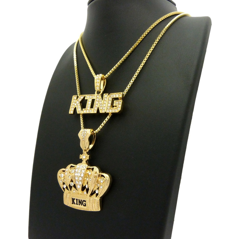 14k Gold Simulated Diamond King Crown Iced Out Pendant Chain