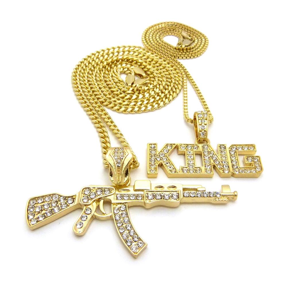 14k Gold Hip Hop King AK47 Chopper Pendant Chain
