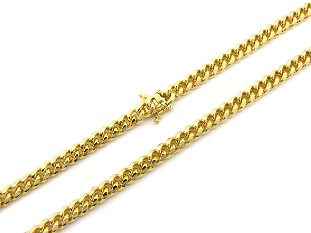 """14k Gold  6mm Box Lock Miami Cuban Link Chain Necklace 36"""""""