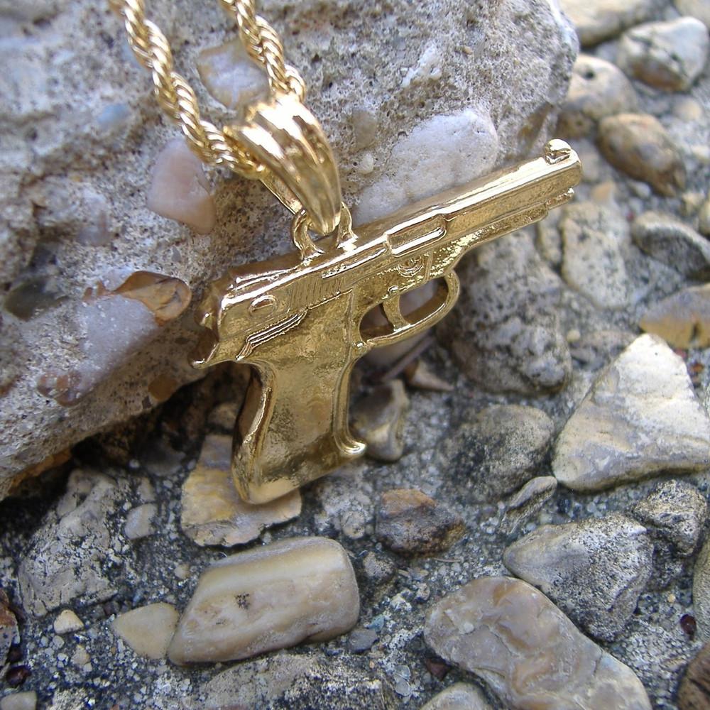 14k Gold Hip Hop 9mm Beretta Pistol Pendant Rope Chain