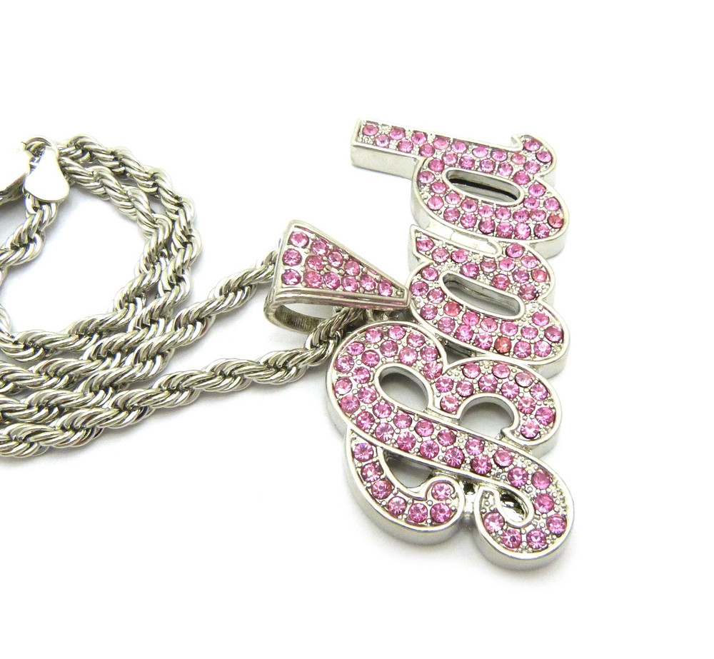 .925 Rhodium Pink Ice BAD Simulated Diamond Pendant