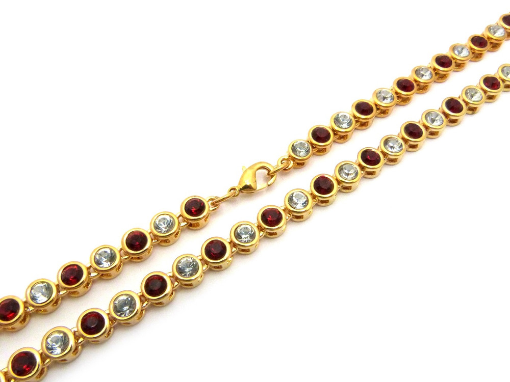 14k Gold Ballers Iced Red Stone Chain 6mm 22 Inch