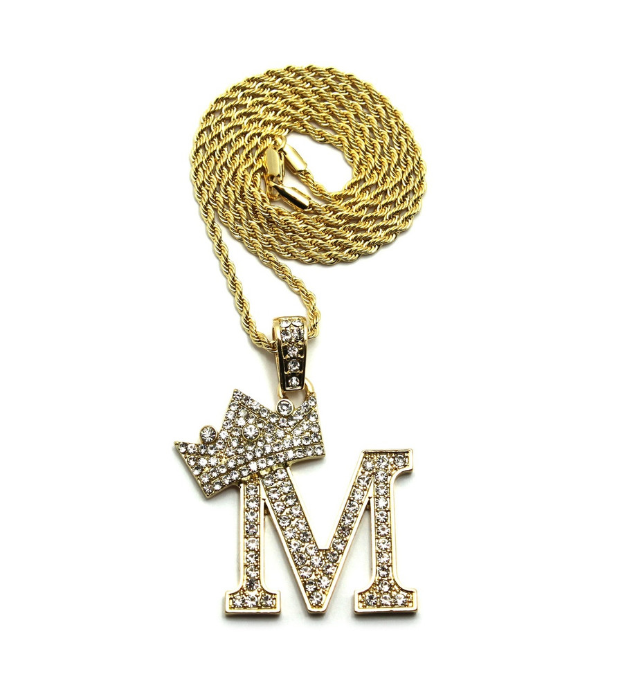 14k Gold GP Crowned Initial M Simulated Diamond Chain Pendant