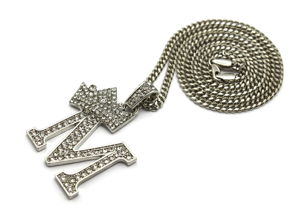 .925 Silver SP  Crowned Initial M Simulated Diamond Chain Pendant