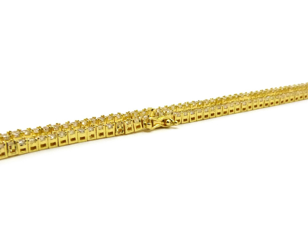 14k Gold Simulated Diamond 1 Row Stone Chain Necklace