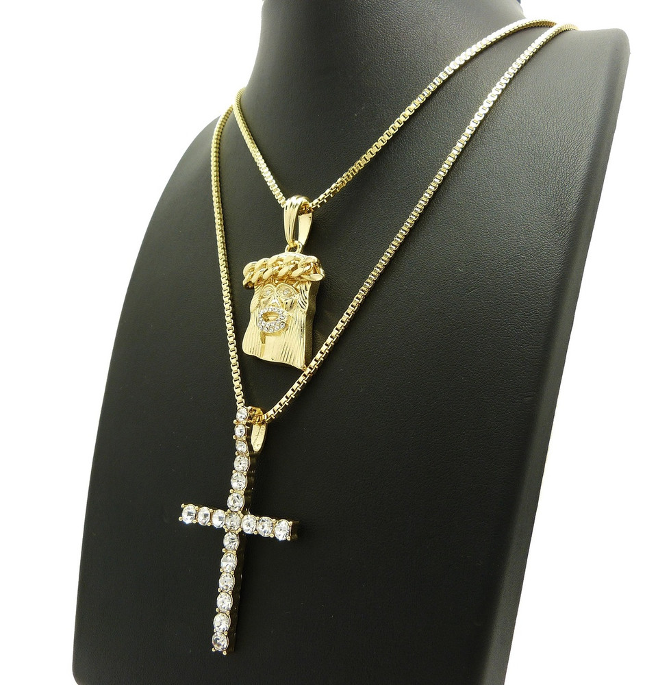 14k Gold Jesus Piece Cross Simulated Diamond Pendant Set