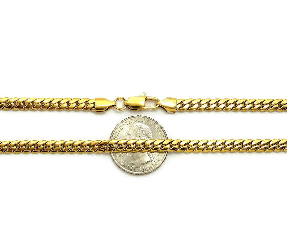 14k Gold Over Stainless Steel Miami Cuban Link Chain 5.5mm