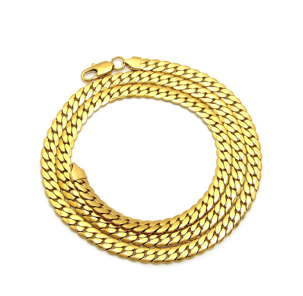 14k Gold Over Stainless Steel Miami Cuban Link Chain 7.6mm