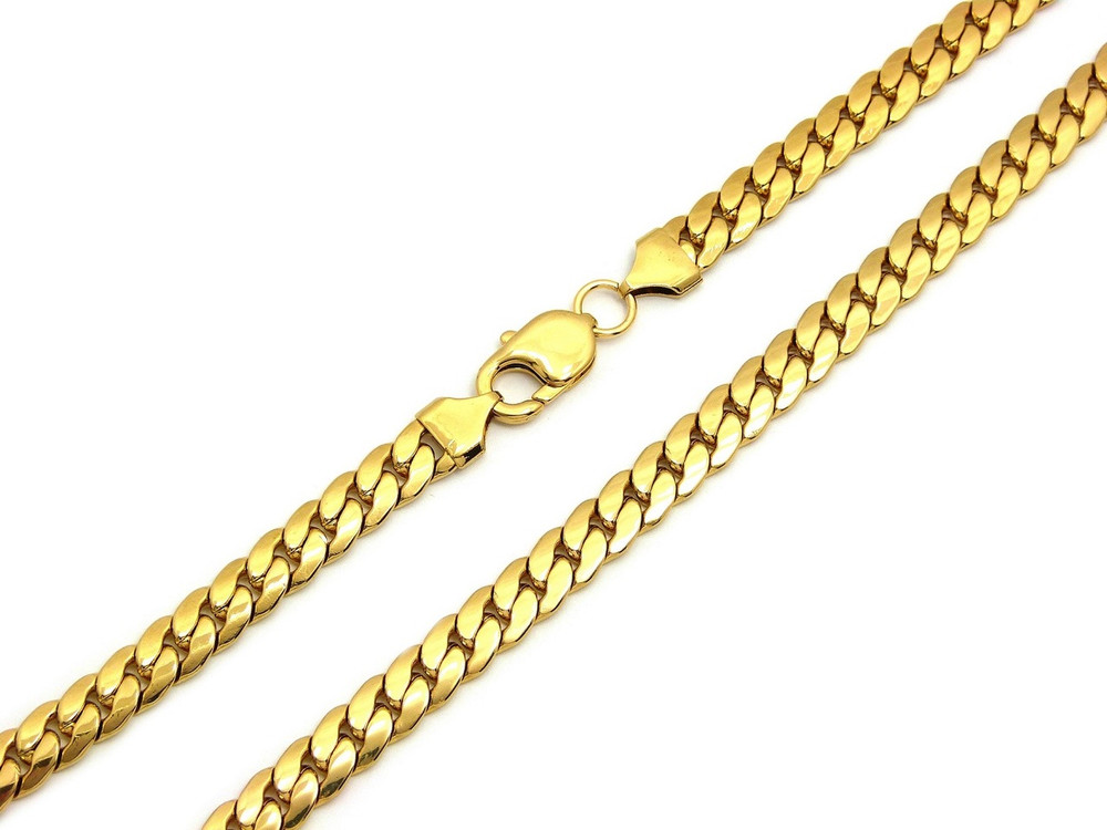 14k Gold Over Stainless Steel Miami Cuban Link Chain 8.4mm