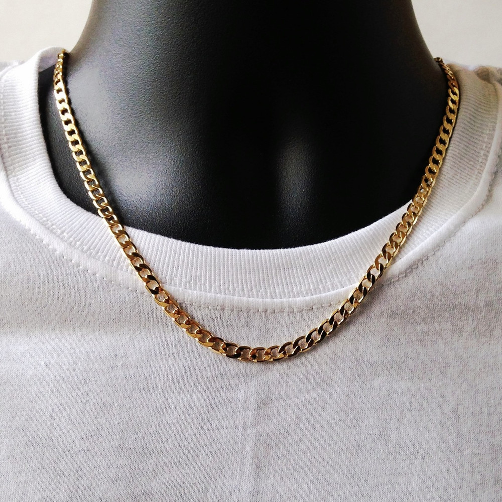 4.8mm Classic Cuban Link Chain Necklace 14k Gold GP