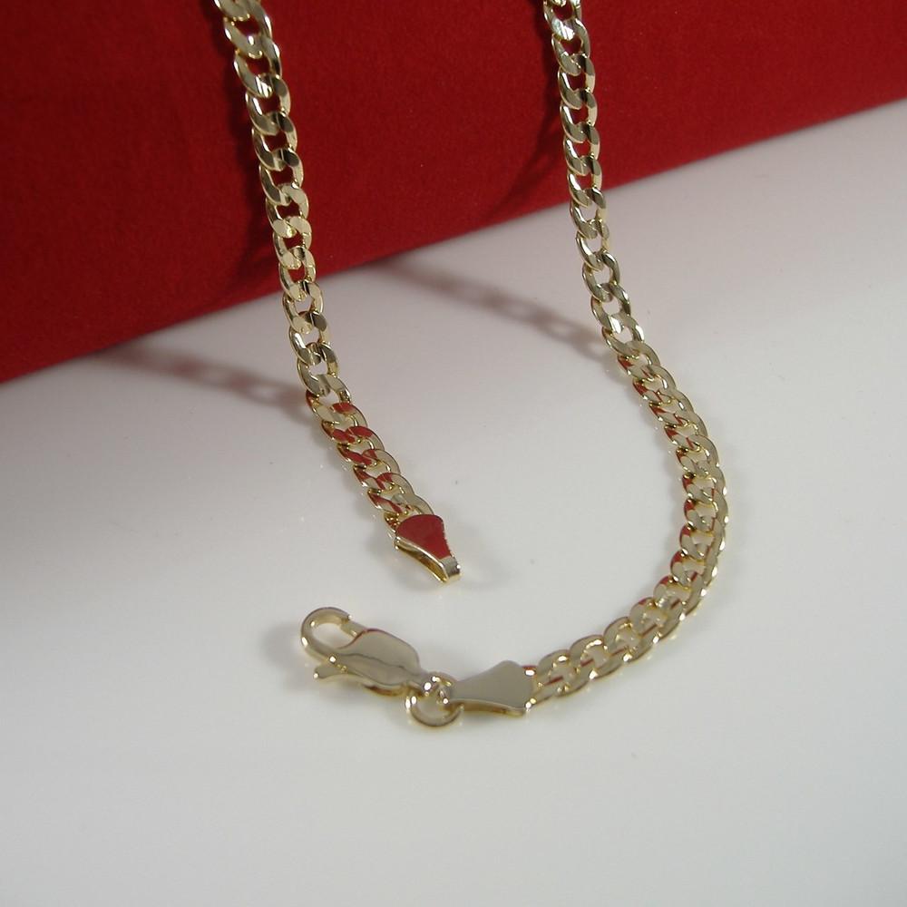 """4mm 20"""" Concave Cuban Link Chain Necklace 14k Gold GP"""