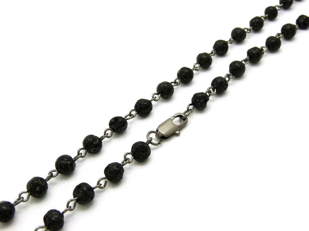 6mm 30 Inch Hip Hop Lava Stone Beaded Chain Necklace
