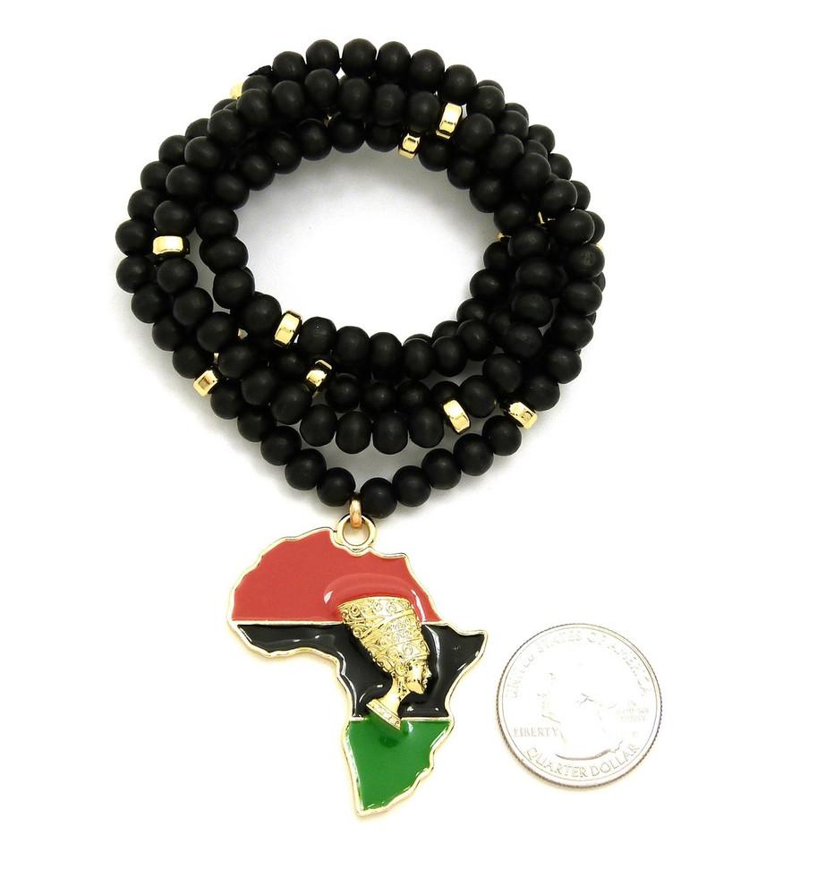14k Gold GP Mother Africa Enameled Ankh Cross Horus Pendant