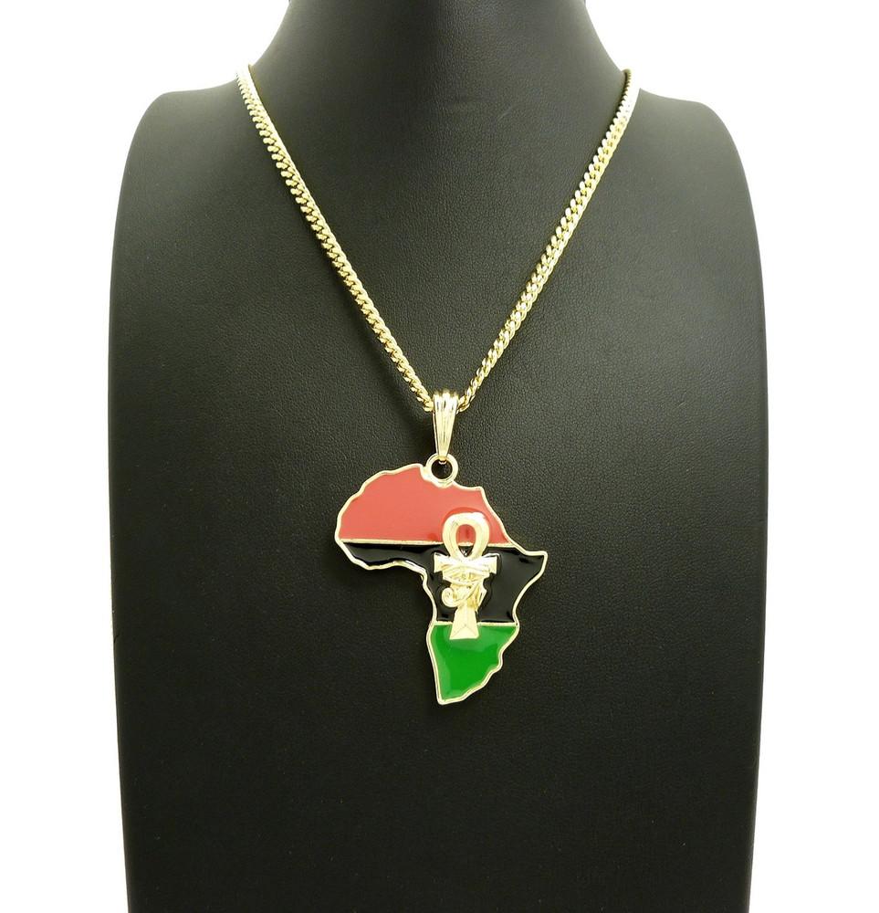 Mother Africa 14k Gold GP  Ankh Cross Eye Of Horus Symbol Pendant