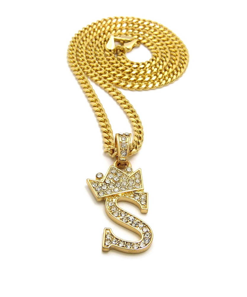 14k Gold GP Crowned Initial S Simulated Diamond Chain Pendant