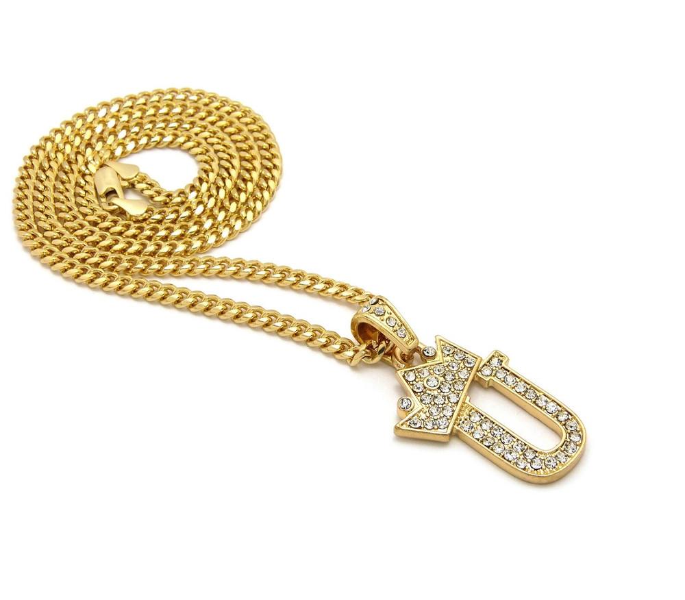 14k Gold GP Crowned Initial U Simulated Diamond Chain Pendant