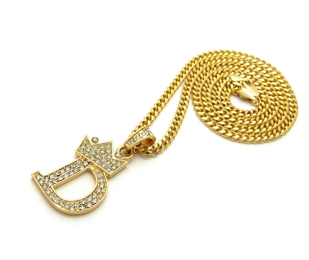 14k Gold GP Crowned Initial D Simulated Diamond Chain Pendant