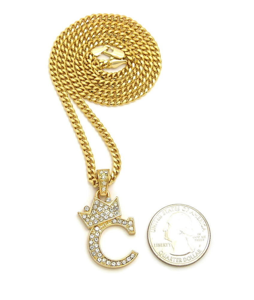 14k Gold GP Crowned Initial C Simulated Diamond Chain Pendant