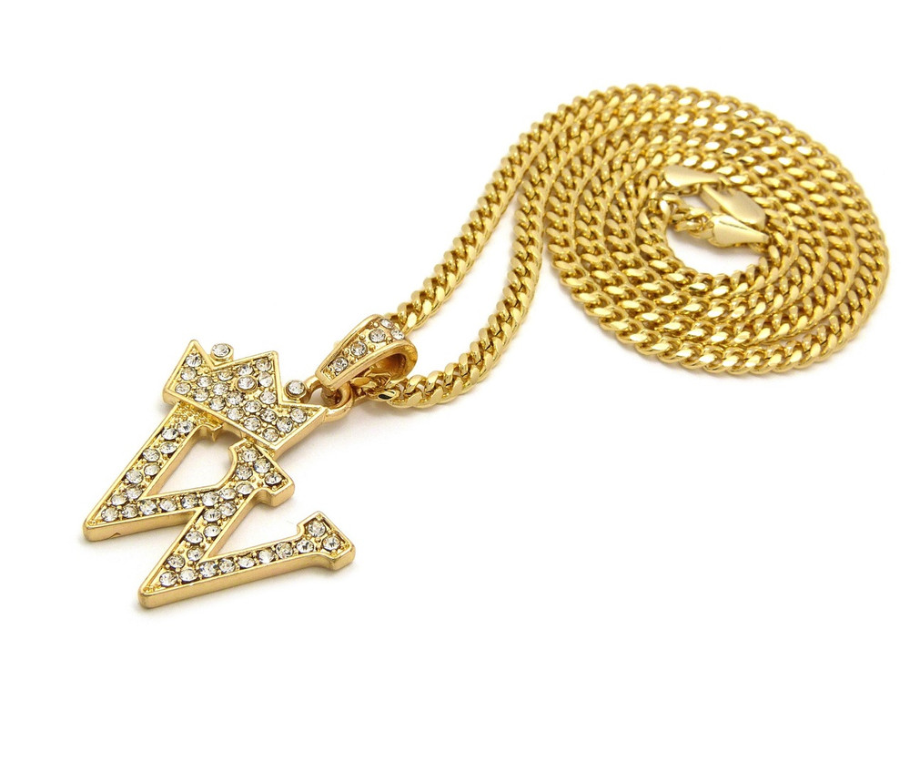14k Gold GP Crowned Initial W Simulated Diamond Chain Pendant